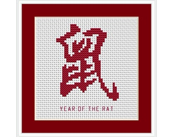 Year of the Rat, Chinese Zodiac Cross Stitch Chart