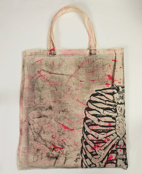 Urban Punk canvas tote bag with skeleton print