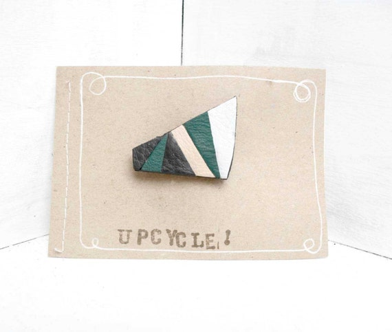 Upcycled leather brooch -  Geometric brooch - Unique OOAK abstract brooch