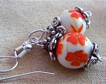 Porcelain Earrings Red Flower Bead Tibetan Silver flower End caps Pretty Delicate Victorian Valentine Gift Trending Colors