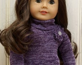American Girl Doll Clothes-Purple Sweater with Ruffle Bubble Skirt and Black Stockings