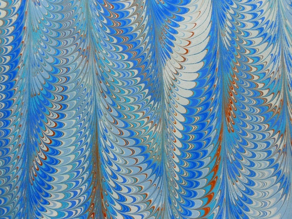 Hand-marbled paper - bright blues, greens, browns, white: Vibrant Feathers