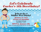 Winter Pool Party Invitations. Customized just for you're upcoming party. Boy's hair and skin color can be changed as needed.
