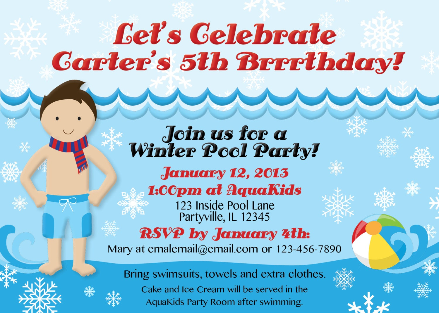 winter pool party invitations  customized just for you u0026 39 re