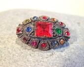 Antique Art Deco Pot Metal and Multi Colored Jewels