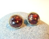 Designer Signed Lisner Jewelry, Womens Vintage Clip On Earrings, Amber Cabochon,  1950s Jewelry