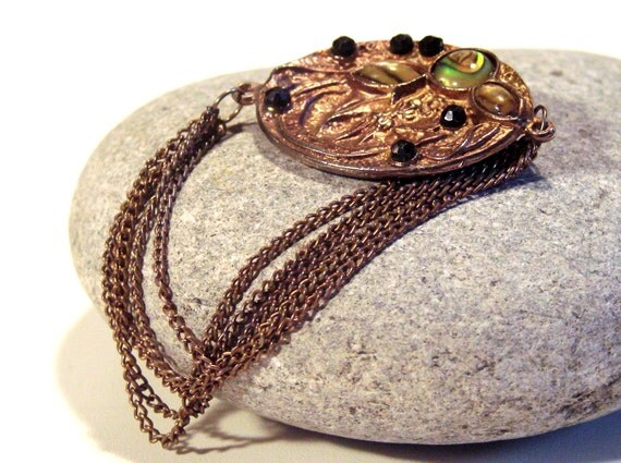 Unique Vintage Chain Brooch Copper Bronze Stone Cabochon Victorian Style