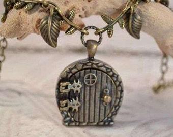 Fairy Door Wish Locket, Garden Door Necklace, Trailing Branches and Leaves Locket Necklace