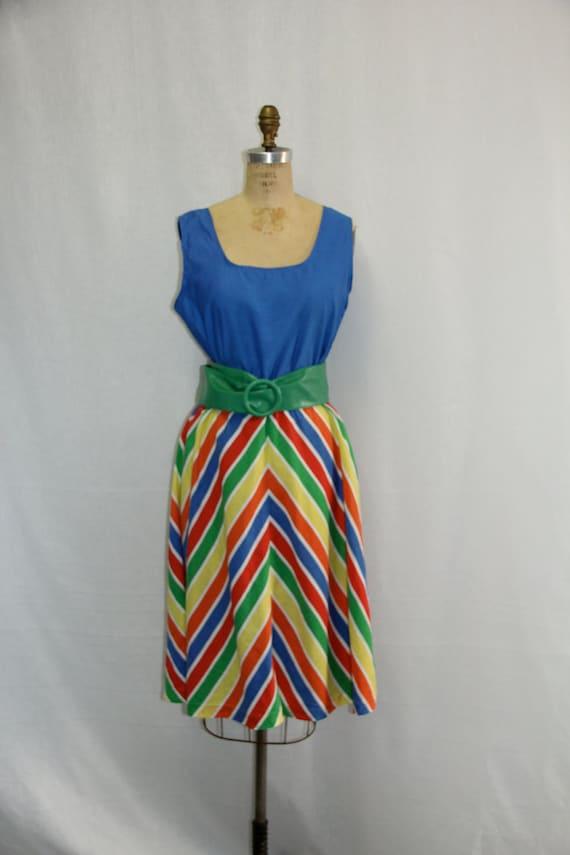 Large Vintage Dress - Primary Colors RAINBOW Chevron
