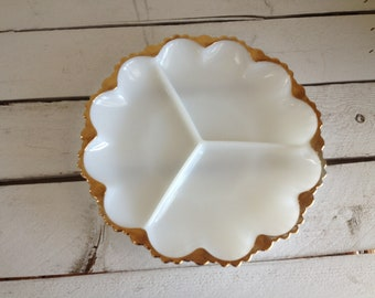 Vintage divided white milk glass serving tray with gold trim vintage wedding vintage kitchen shabby chick