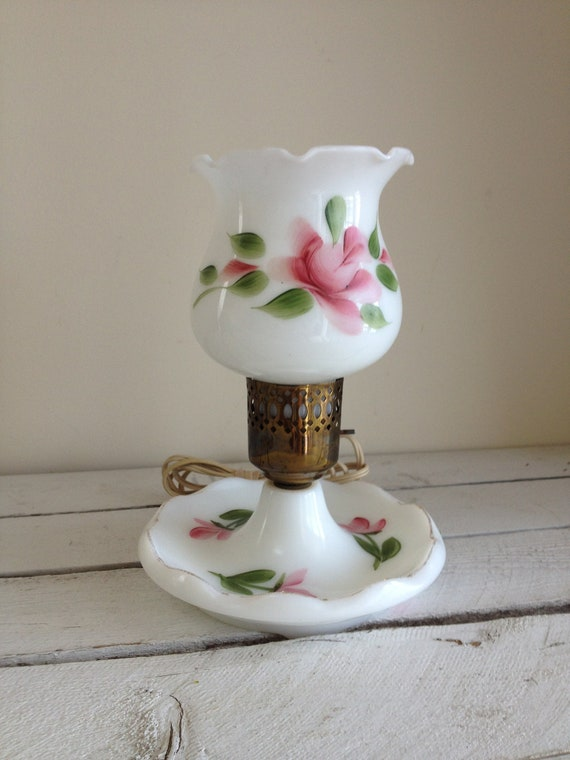 Vintage White And Pink Floral Milk Glass Hurricane Lamp