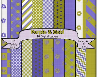 Digital Papers - Purple and Gold Coordinated Backgrounds for your Scrapbook, Card making and Other Crafts
