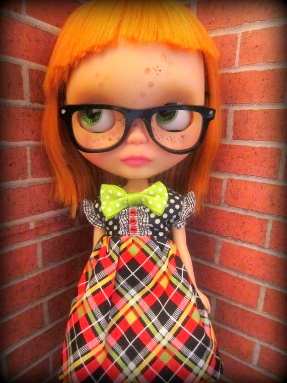 Red Black and Green Plaid with Polka Dots Dress for Blythe or Dal