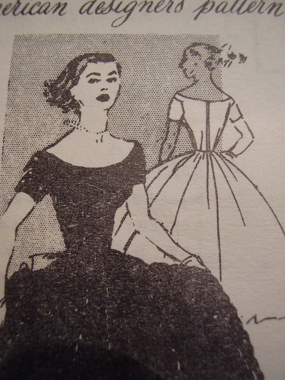 Vintage 1950s Spadea's American Designer Dress Anne Fogarty 1096D Sewing Pattern, Size 12, Bust 35