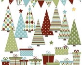 Christmas Trees and Gifts clip art set - holiday printable clipart - instant download