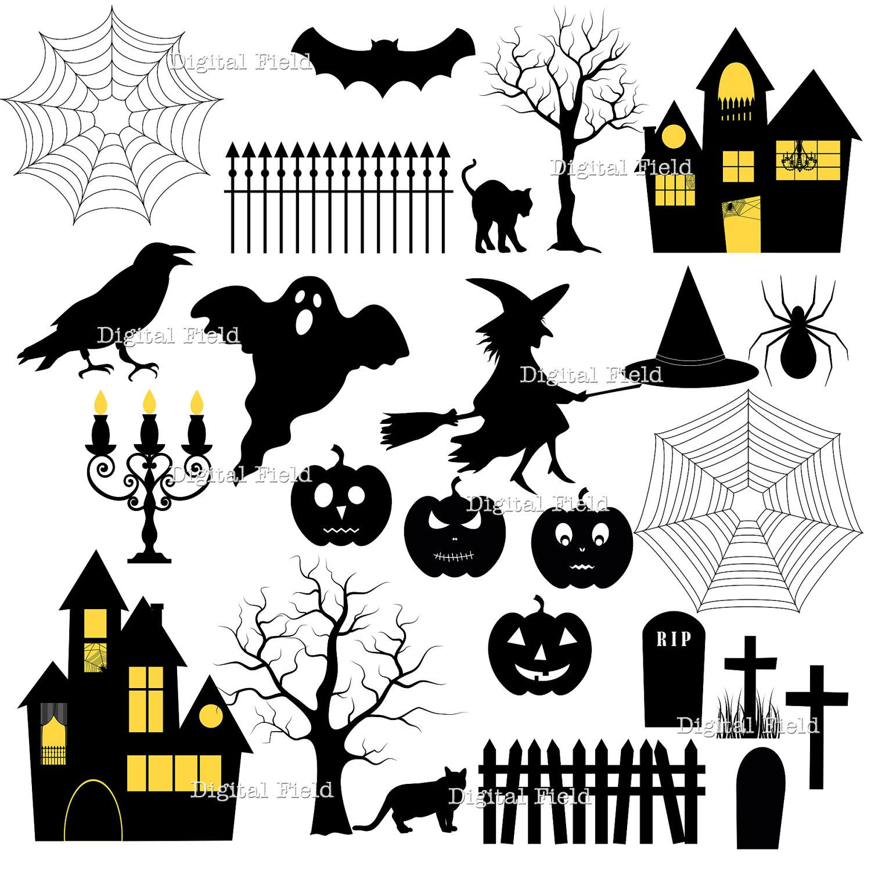 Halloween silhouette clip art set halloween printable - Adornos de halloween ...