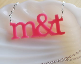 you & me acrylic necklace
