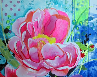 "Archival Print of Original Watercolor -- close up of ""Summer Flowers"""