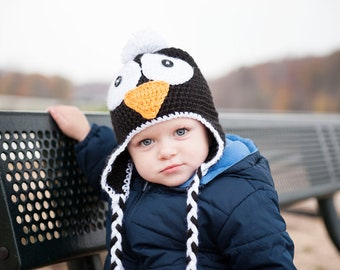 Crochet penguin earflap hat, all sizes, Photo prop