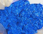 Solvent Resistant Glitter Matte Blue Medium Hexagon Cut for Nail Polish UV Gel Nail Art