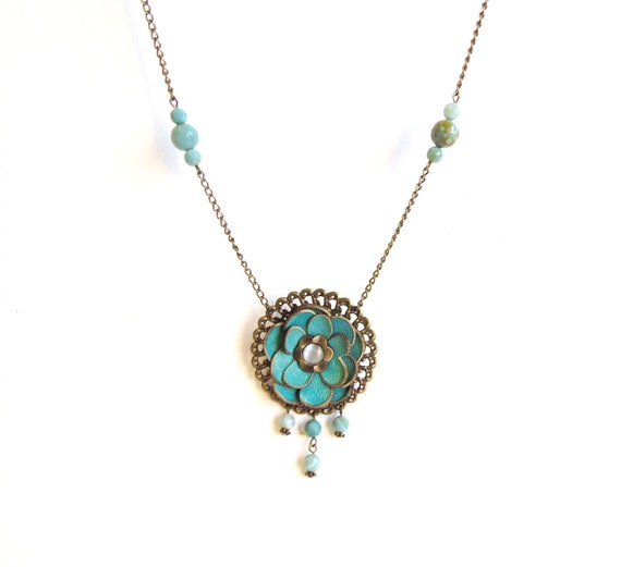 Aqua leather floral necklace with Agate beads