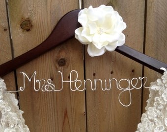 Bride Hanger, Bridal Dress Hanger, Wedding Hanger, Personalized. Bridal Shower Gift, Unique Wedding Gifts, Bridesmaid Gifts, New Last Name