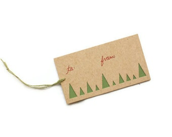 10 Christmas Gift Tags: laser cut Christmas Tree Forest Tags