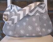 Handmade Fabric Bags Purses - Premier Prints Grey and White - Chevron Handbag