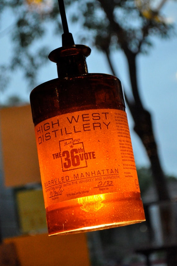 Recycled Bottle, Western Distillery Pendant Lamp, Whiskey Bottle, Hanging Bottle Pendant, Hanging Lamp, Bottle Lamp with Edison Lightbulb