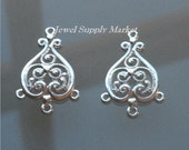 SALE_2pcs-sterling silver 37mm, connector, chandelier earrings, necklace focal point, pendant, link, drop, charm