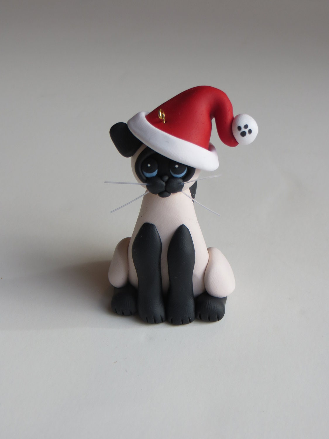Christmas ornament polymer clay siamese cat figure seal point