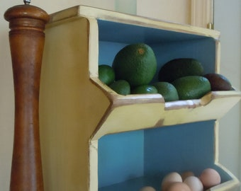 Jacob Hershburger's Kitchen Storage Boxes Primitive Rustic Country Chic 2 Bin in #2 Yellow and Sky Blue-MADE TO ORDER