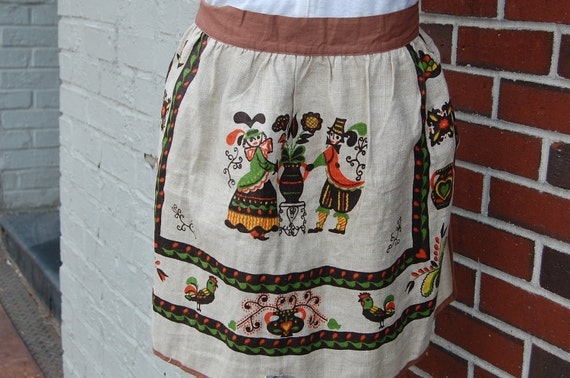 Vintage Pennsylvania Dutch Linen Apron - Thanksgiving Apron -