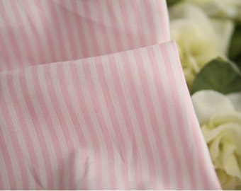 Light Pink Stripe 2 mm Cotton Fabric per Yard 23711