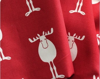 Christmas Fabric Just Moose Oxford Cotton in Red per Yard 27174