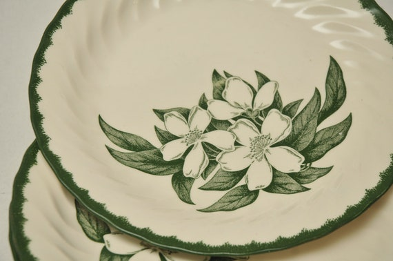 Vintage Royal China Green Dinnerware Restaurant Plates And