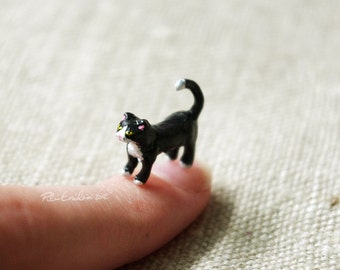 Black and White Miniature Cat, Polymer Clay, Made to order