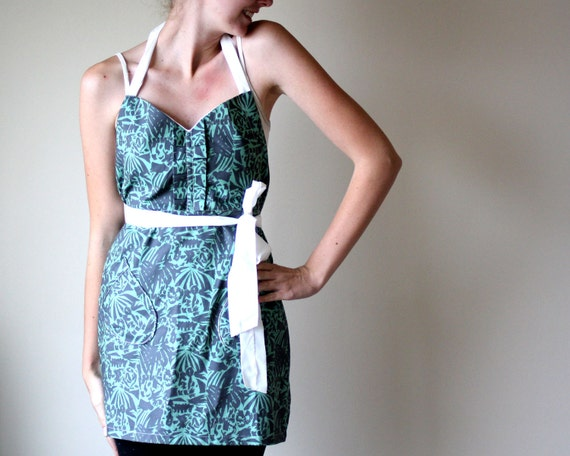 The Matisse Apron - mint green charcoal gray painterly pattern retro adjustable cotton hostess apron with ruffles, pockets