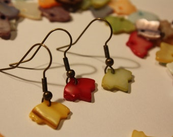 Autumnal Leaves Earrings - Choose your colours - Mother of Pearl - Bronze or Silver Plate