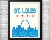 St Louis, St Louis Skyline, St Louis Arch, St Louis Print, St Louis Poster, Saint Louis