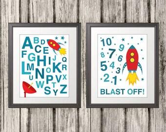 ABC, 123, Rocket Ship, 123 Print, ABC Print, Alphabet Print, Alphabet Poster, 123 Poster, Nursery Art - 8x10