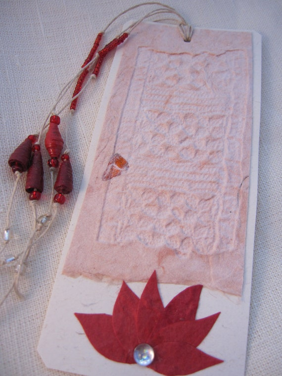Tag-bookmark- with  handmade paper chalcography