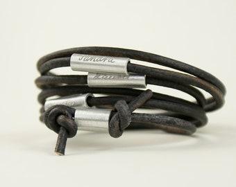 Bracelet en cuir personnalisé, Bracelet gravé, Bracelet de perle avec nom, groupe familial, gris-bleu, gris, ma famille, fête des pères, cadeau fête des pères