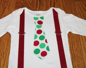 Christmas Tie and suspenders Onesie or shirt - Red and Green Polka Dots READY TO SHIP