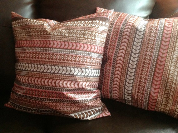 "Decorative Pillow cover ""Daisy Cottage Laminted Cotton Stripe Pink"" - 18x18 inch"