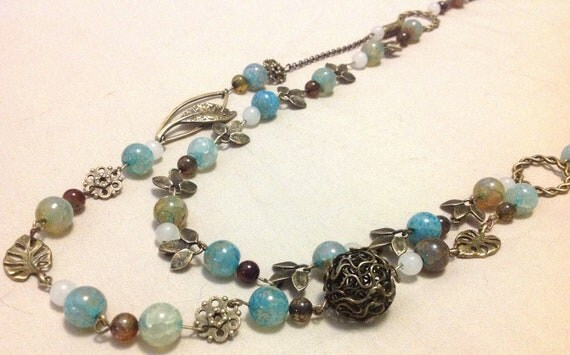 Layered Long Necklace w/Natural Blue Dragon Veins Agate Gemstone