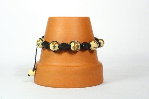 Macrame bracelet Yoga beads Brown Czech glass beads Slide closure  CarolMade