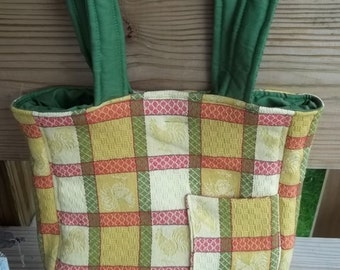 Rooster Shoulder Bag Vintage Country Fabric Quilted Lined Yellow Orange Green PRIce REDuced