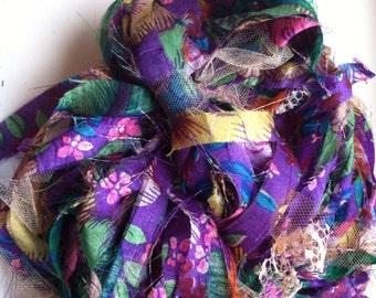 """100% silk """"paparazzi""""-style yarn, upcycled"""