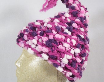 The Ice Cream Pixie Cap. Luxuriously soft and warm. (Adult) Pixie Hat, OOAK Elf Fairy pink purple plum raspberry rose